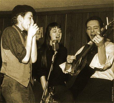Bob Dylan, K A R E N  D A L T O N and Fred Neil at the Cafe Wha? Feb. 1961; photographer: Fred W. Darrah